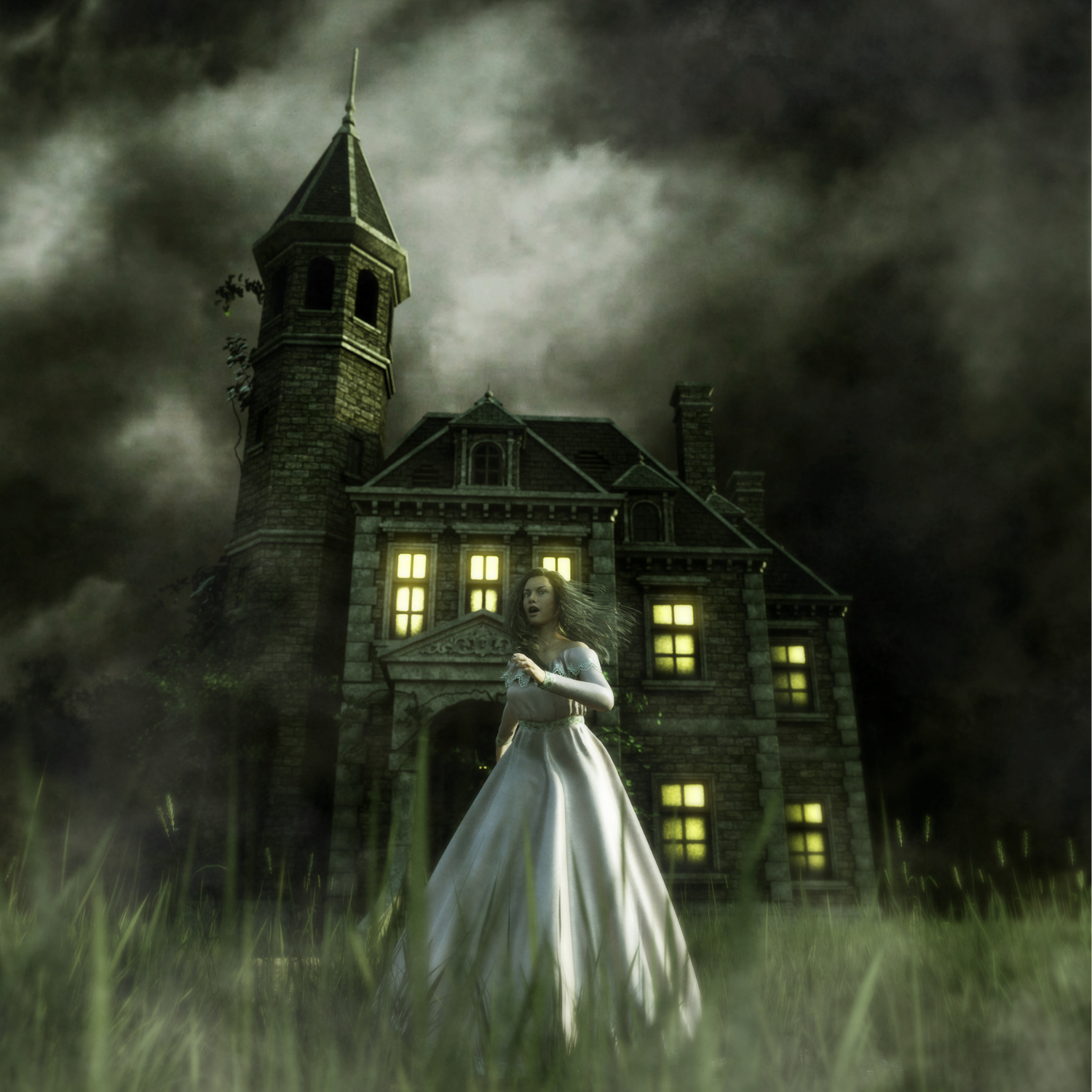woman in front of haunted house